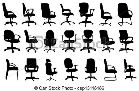 Furniture clipart artwork Office chairs Vector silhouettes of
