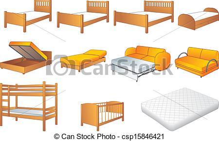Furniture clipart bedroom furniture Set Bedroom csp15846421 of vector