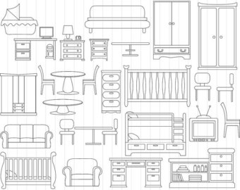 Furniture clipart bedroom furniture Clipart Personal/Commercial Clip for clip