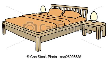 Bed clipart big bed Wooden of of a