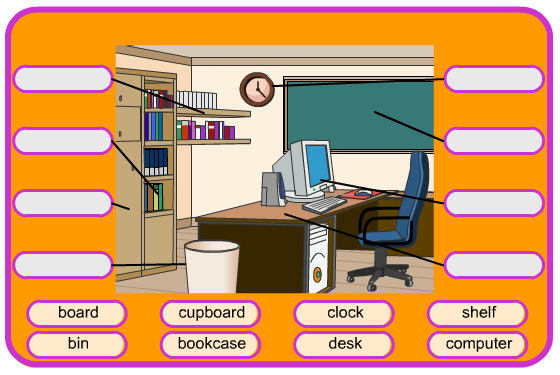 Desk clipart classroom objects PrimarySchoolEnglish Classroom  Objects