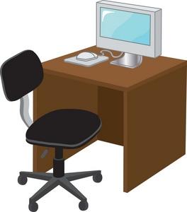 Desk clipart computer Illustration Clipart Computer a Art