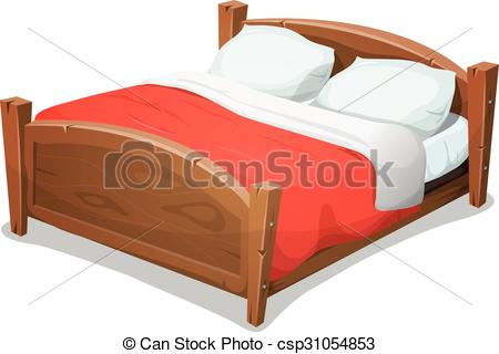 Furniture clipart double bed Vector Wood Blanket Bed Illustration