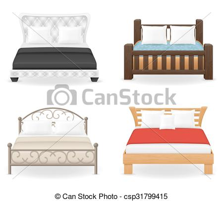 Furniture clipart double bed Vector icons Vector set vector