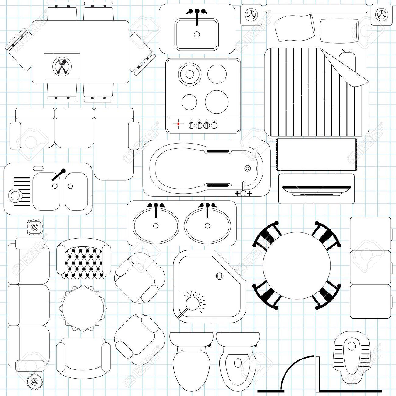 Furniture clipart floor plan Symbols Cliparts art floor plan