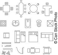 Furniture clipart floor plan Symbols Illustrations art Furniture icons