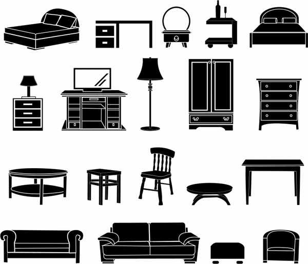 Furniture clipart home furniture Free white  commercial black