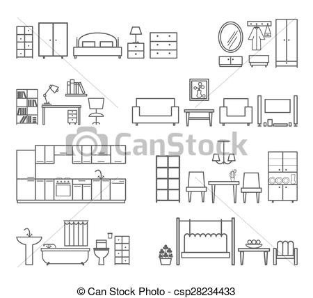 Furniture clipart home furniture Csp28234433 for different for icons