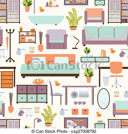 Furniture clipart home furniture House EPS pattern pattern seamless