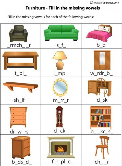 Furniture clipart household item Worksheet in 45 index English