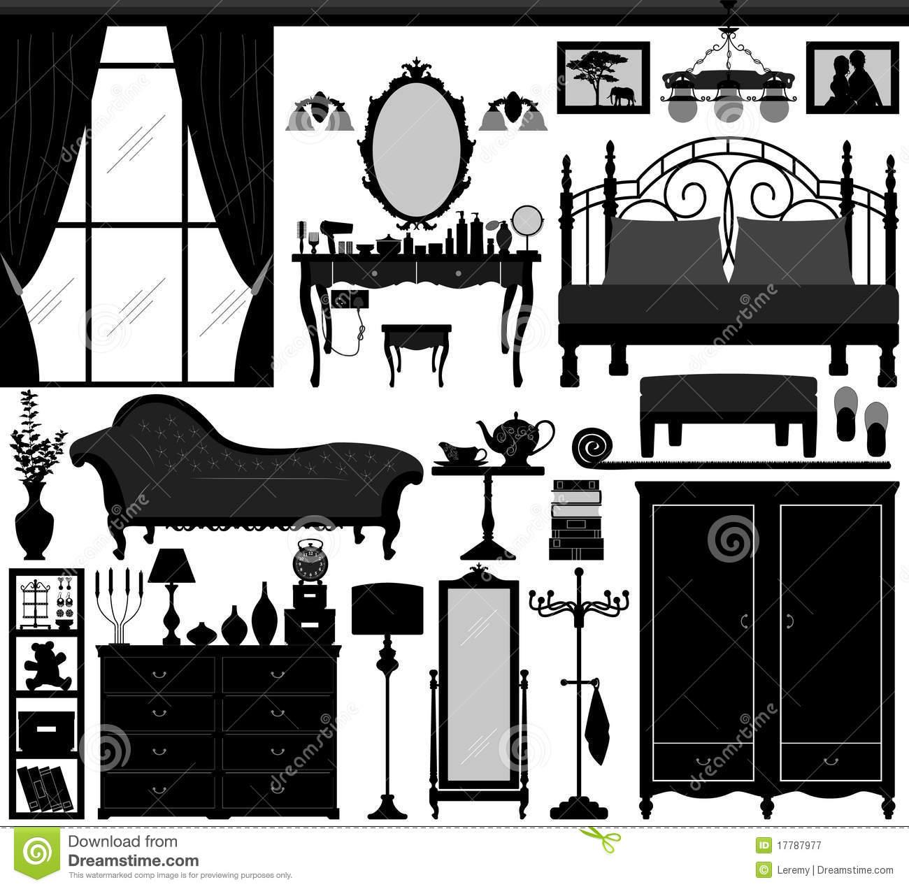 Furniture clipart interior decorator Set design Bedroom collection Furniture