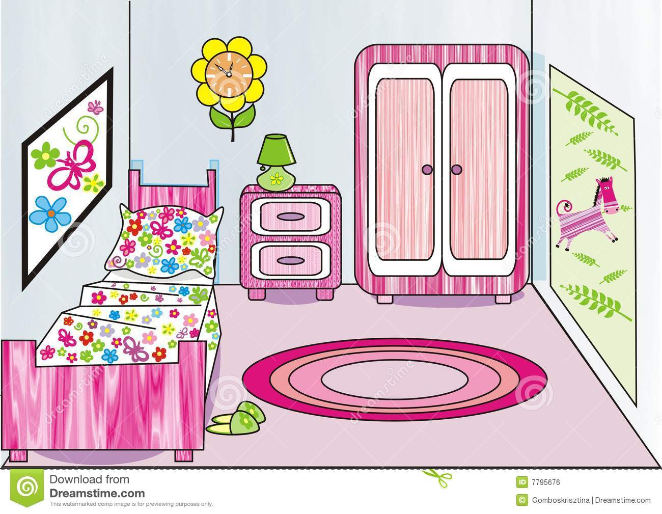 Bed clipart childrens bedroom Bedroom girls Clipart