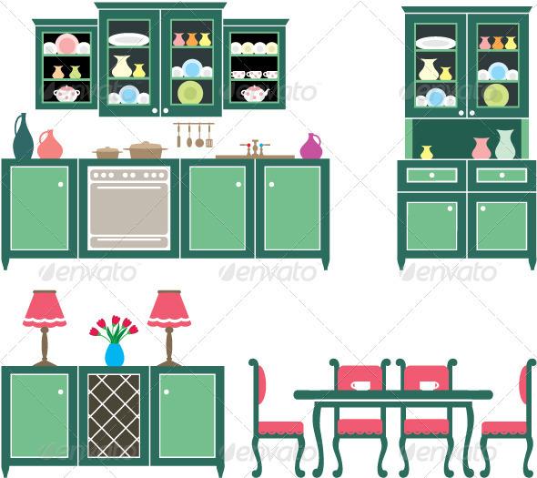 Interior Designs clipart coreldraw Lamps Bottle Kitchen Set Furniture