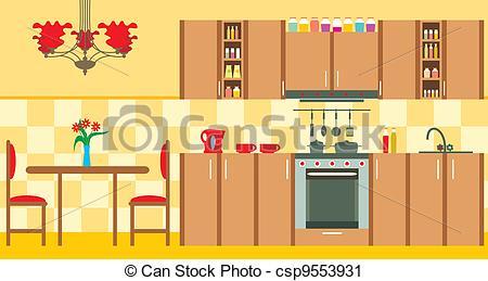 Illustration clipart kitchen Kitchen Interior Vector csp9553931 Vector