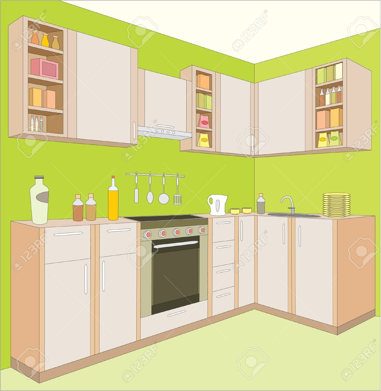 Furniture clipart kitchen room  dining collection table room