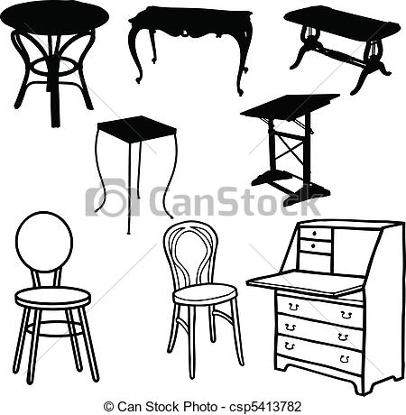 Furniture clipart line art Of vector csp5413782 Illustration Vector