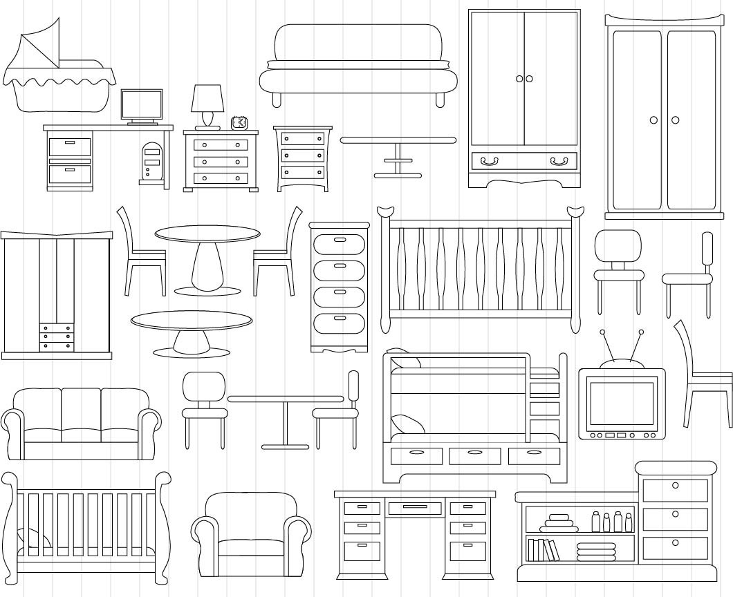 Furniture clipart line art Is This digital Outline Art