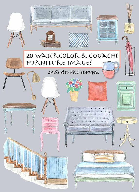 Furniture clipart pillow Gouache 20 Chair Vintage Furniture