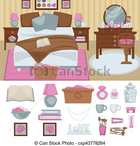 Furniture clipart pink bedroom Woman  Clip Vector furniture