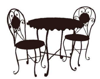 Furniture clipart side table Black And White Side