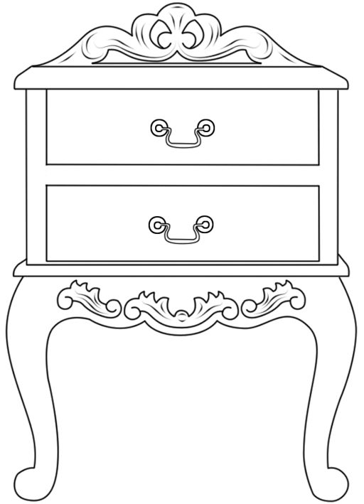 Furniture clipart side table Black Clipart White images Incredible