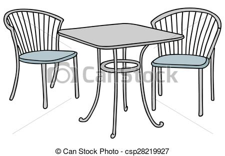Furniture clipart small table Chairs table drawing Vector Hand