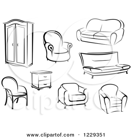Furniture clipart things Black White Clipart Furniture Download