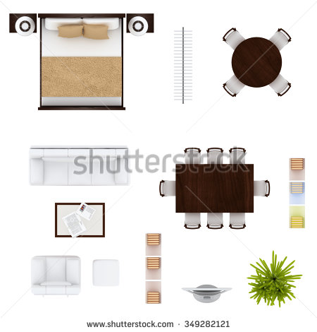 Furniture clipart top view View Furniture view Furniture collection