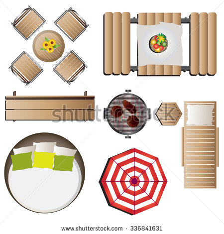 Furniture clipart top view 12 design vector for top