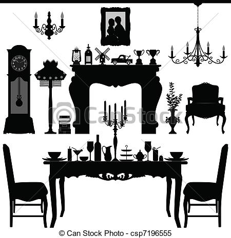 Interior Designs clipart modern furniture Antique Dining scenario Dining Old