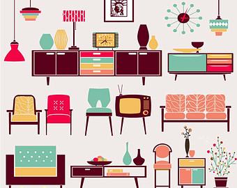 Furniture clipart vector art Furniture art digital furniture graphic