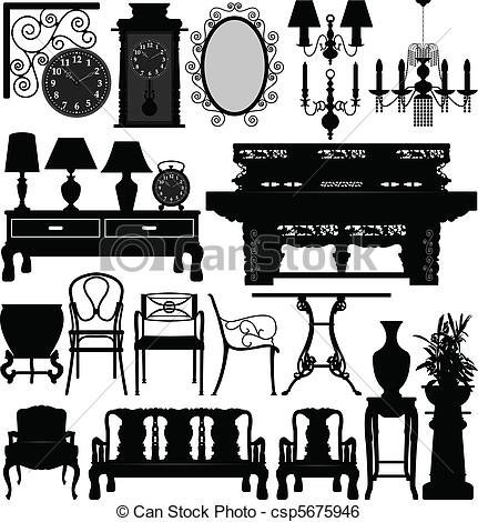 Furniture clipart vector art Old of House Old Art