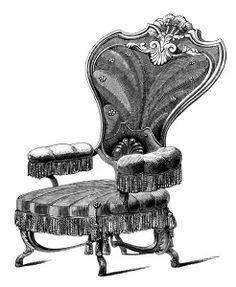 Furniture clipart vintage chair Vintage black clipart chair art