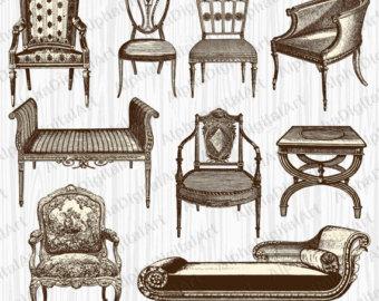 Furniture clipart vintage chair 9 desk Clipart Vintage Clipart