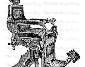 Furniture clipart vintage chair Antique Printable Digital Barber Vintage