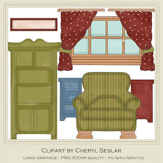Windows clipart house furniture Parlour by by Clipart Prim
