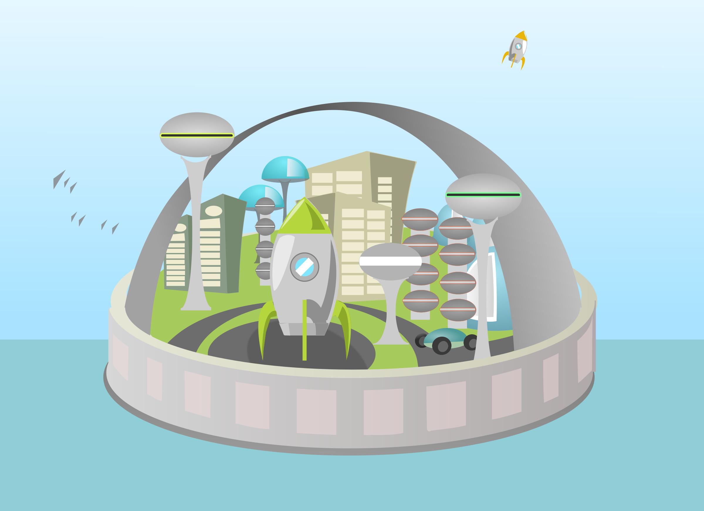 Futuristic clipart Clipart city island Futuristic city