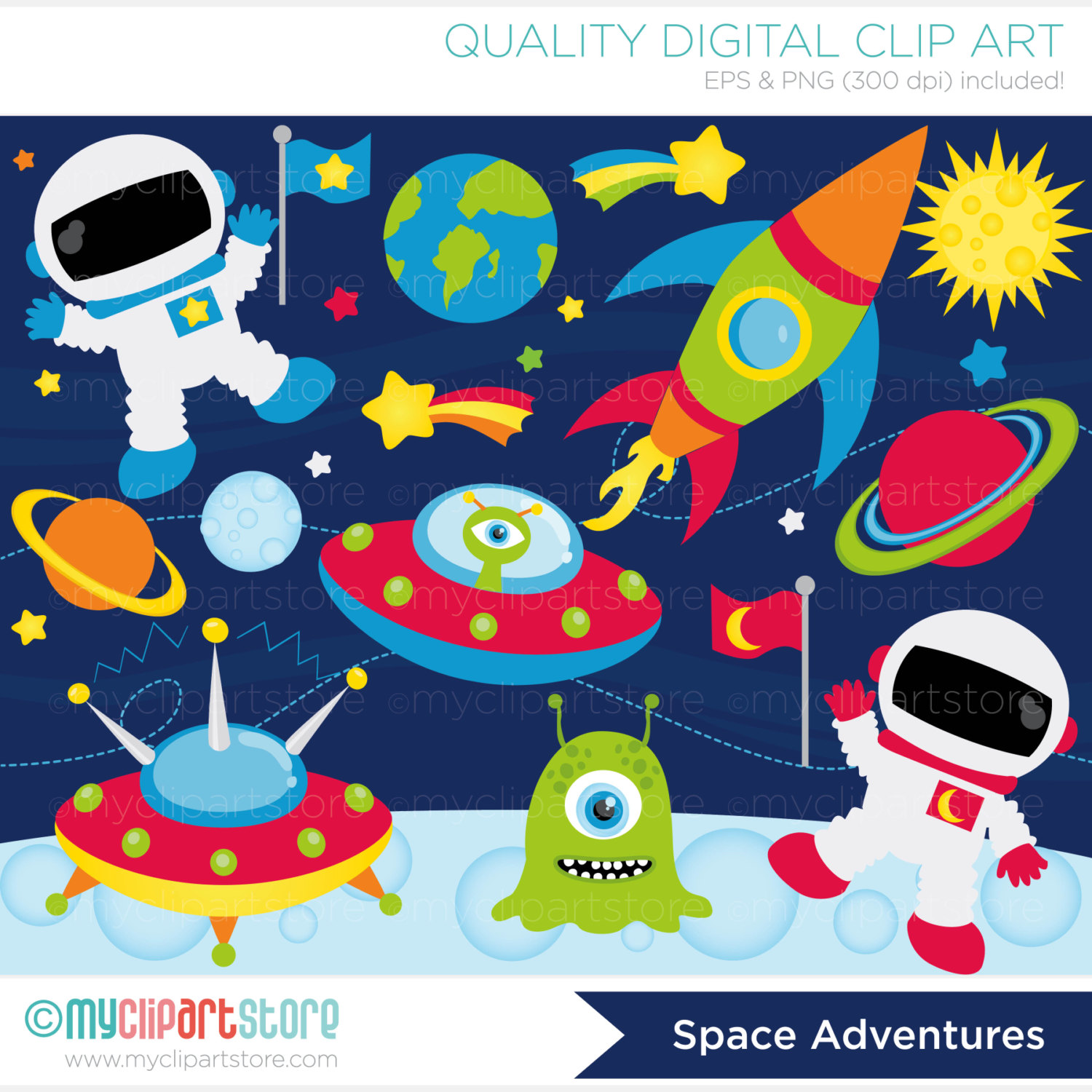 Galaxy clipart space rocket #11