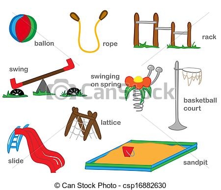 Outside clipart preschool playground Csp16882630 Illustration Illustration Playground toys