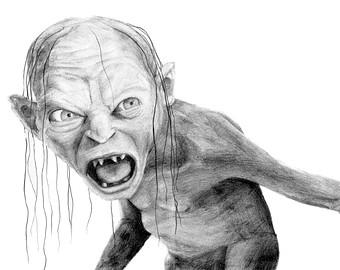Gandalf clipart gollum Pencil pencil GOLLUM drawing GANDALF