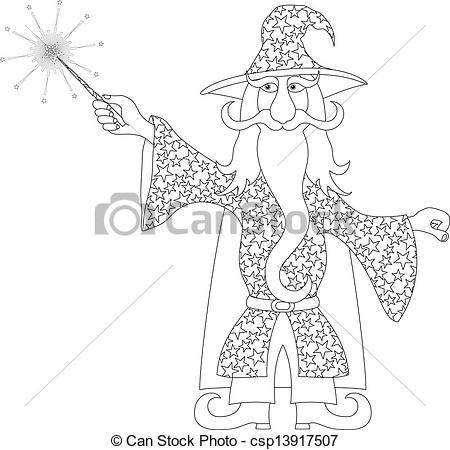 Gandalf clipart merlin Vector with Clipart Vector outline