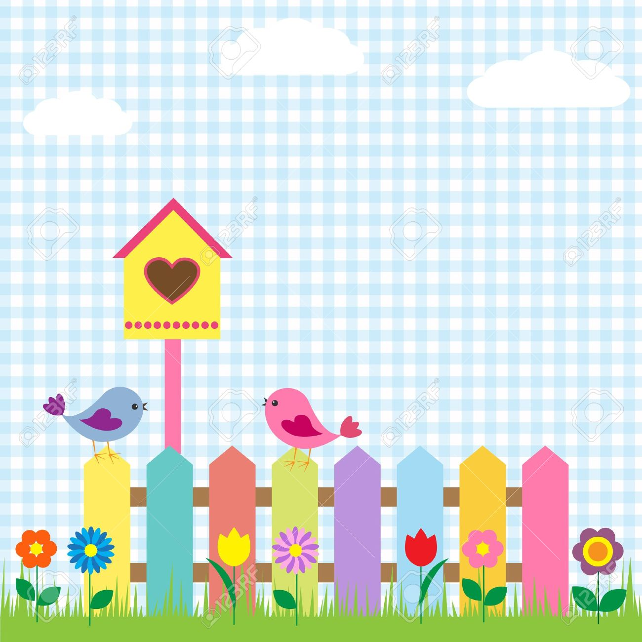 Bird House clipart fence Background And background With collection