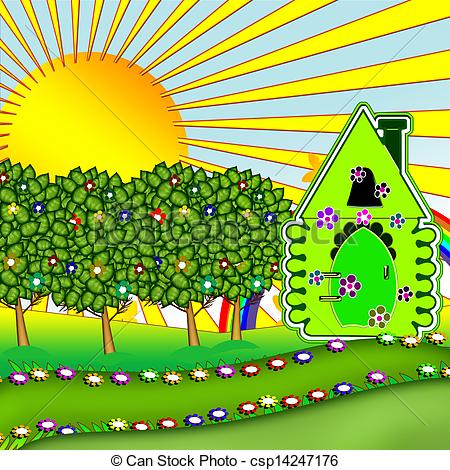 Garden clipart drawing Illustrations and house house Summer