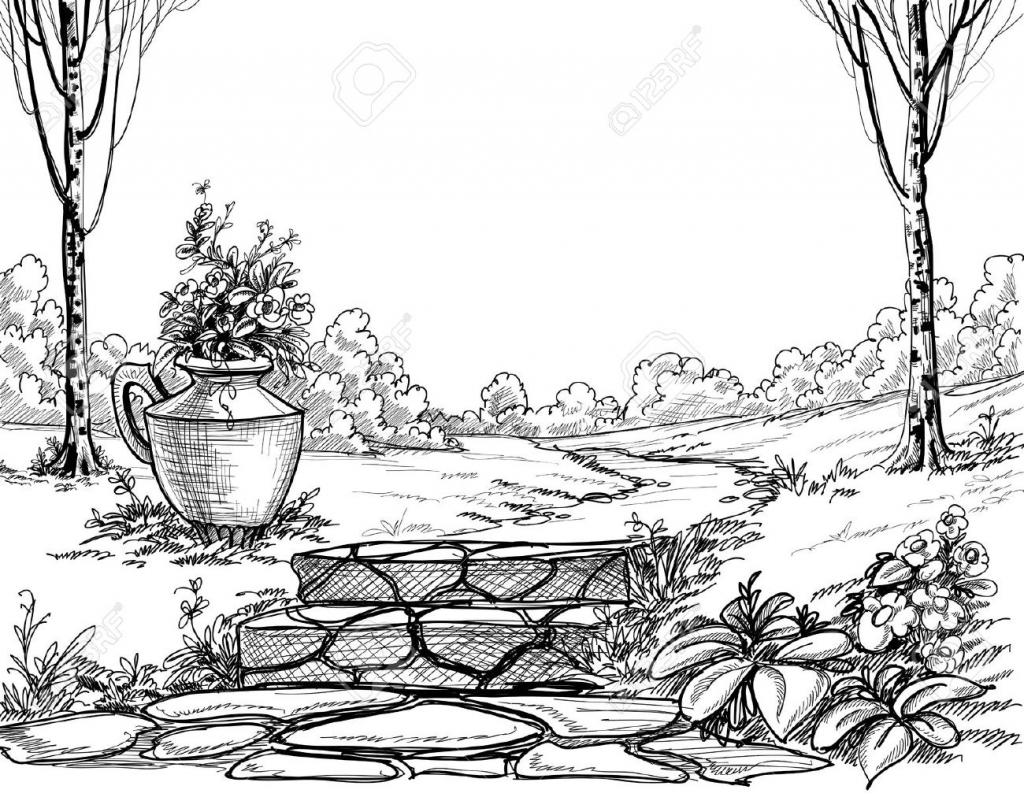 Garden clipart drawing Black Garden Black Flower Beautiful