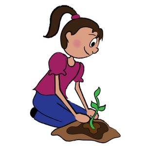 Brunette clipart animated Planting Art Clip on Download