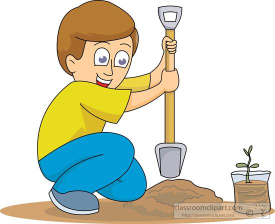 Boy clipart gardening Classroom planting_a_seedling Clipart Gardening :