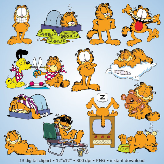 Garfield clipart cartoon character Party Digital Free! pets Etsy