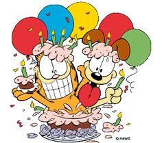 Garfield clipart party Has me same Birthday birthday