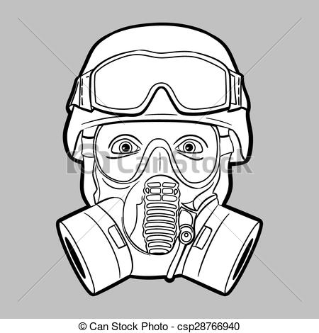 Soldier clipart line drawing EPS10 csp28766940 Vector Gas mask