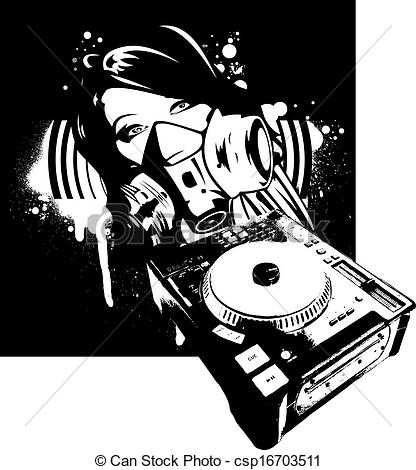 Gas Mask clipart logo DJ And Girl Mask Gas